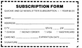 Quickie Newsletter Subscription Form