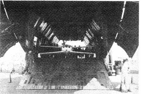 Q2 inside a C-5A Cargo Plane