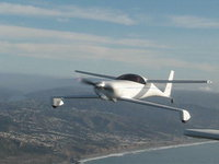 2002 Lindy Winner - Quickie N46JP flying just off the coast of San Francico, Ca.